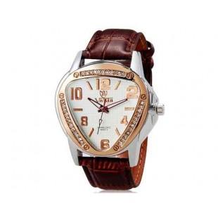 Валя 8232 Женщины Треугольник Аналоговые часы с Кристалл Украшение & Faux кожаный ремешок (белый и коричневый) М.
