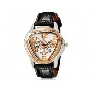 Валя 8232 Модная женская Кристалл Награжден Аналоговые часы с датой Дисплей & Faux кожаный ремешок (черный) М.