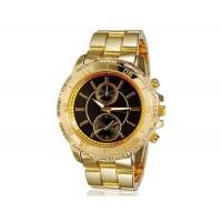 Kingsky 8836 Женская Кристалл Награжден Круглый Кварцевые часы с Аллой ремешок & IP Покрытие (черный) М.