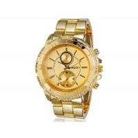 Kingsky 8836 Женская Кристалл Награжден Круглый Кварцевые часы с Аллой ремешок & IP Покрытие (золото) М.
