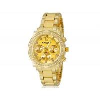 Kingsky 8845 Женская Кристалл Украшенные Круглый кварцевые часы с Аллой ремешок & IP Покрытие (Gold) М.