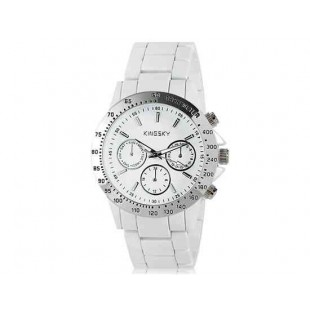 Kingsky 8843 Женская Круглый Кварцевые часы с Аллой ремешок (белый) М.