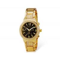 Kingsky 8831 Женская Кристалл Награжден IP Позолоченные кварцевые аналоговые часы (черный) М.