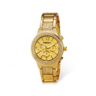 Kingsky 8831 Женская Кристалл Награжден IP Позолоченные кварцевые аналоговые часы (золото) М.