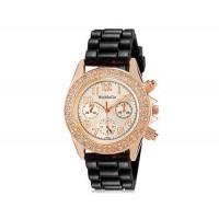 WoMaGe 1086 кристалл стиле женщин ` s аналоговые часы с м. силиконовый ремешок (черный)