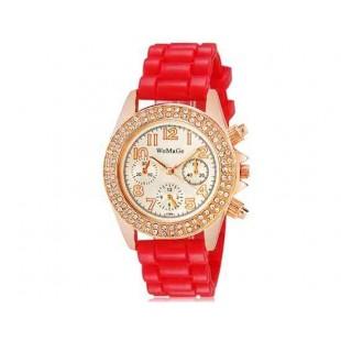 WoMaGe 1086 Кристалл Награжден Женская Аналоговые часы с силиконовым ремешком (красный) М.