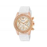 WoMaGe 1086 кристалл стиле женщин ` s аналоговые часы с силиконовый ремешок (белый) м.