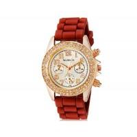 WoMaGe 1086 Кристалл украшены Женская Аналоговые часы с силиконовым ремешком (коричневый) М.