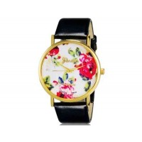 Womage 1089 модные женская Платиновый Аналоговые кварцевые наручные часы с цветочным узором и PU Группа (черный) М.