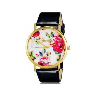 Womage 1089 Модная женская Платиновый Аналоговые кварцевые наручные часы с цветочным узором и PU Группа (черный) М.