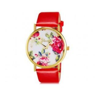 Womage 1089 Модная женская Платиновый Аналоговые кварцевые наручные часы с цветочным узором и PU Группа (красный) М.
