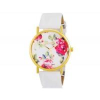 Womage 1089 модные женская Платиновый Аналоговые кварцевые наручные часы с цветочным узором и PU Группа (белый) М.
