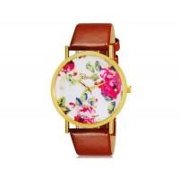 Womage 1089 модные женская Платиновый Аналоговые кварцевые наручные часы с цветочным узором и PU Группа (коричневый) М.