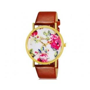 Womage 1089 Модная женская Платиновый Аналоговые кварцевые наручные часы с цветочным узором и PU Группа (коричневый) М.