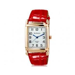 WoMaGe кварц 8189 Женская модная Аналоговые часы с PU ремешок (красный) М.