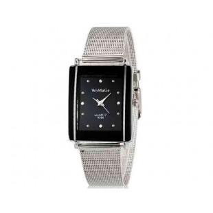 WoMaGe 9366 Женская модная Chic Тонкий прямоугольник Дело Стиль Аналоговый кварцевые наручные часы с Аллой ремешок (черный) М.