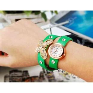 WoMaGe 620 Модная женская Кварцевый Бабочка Дизайн Кристалл Rhinestone наручные часы (зеленый)