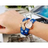 WoMaGe 620 модные женская Кварцевый Бабочка Дизайн Кристалл Rhinestone наручные часы (синий)