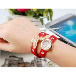 WoMaGe 620 Модная женская Кварцевый Бабочка Дизайн Кристалл Rhinestone наручные часы (красный)