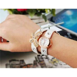 WoMaGe 620 Модная женская Аналоговый кварцевый Бабочка Дизайн Кристалл Rhinestone наручные часы (белый)