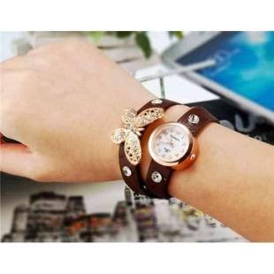 WoMaGe 620 Модная женская Кварцевый Бабочка Дизайн Кристалл Rhinestone наручные часы (коричневый)