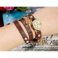 Viyev модные женская Аналоговый Long Золотая цепь Дизайн Кристалл Rhinestone наручные часы (коричневый)