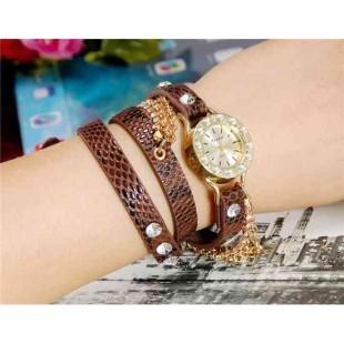 Viyev Модная женская Аналоговый Long Золотая цепь Дизайн Кристалл Rhinestone наручные часы (коричневый)