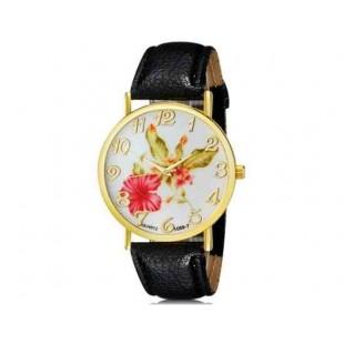 WoMaGe 1089-7 Модная женская Аналоговый кварцевые наручные часы с цветочным узором и искусственной кожаный ремешок (черный)
