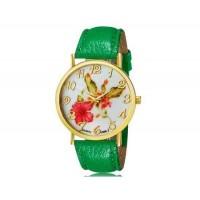 WoMaGe 1089-7 модные женская Аналоговый кварцевые наручные часы с цветочным узором и искусственной кожаный ремешок (зеленый)