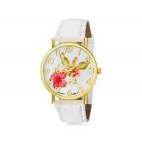 WoMaGe 1089-7 модные женская Аналоговый кварцевые наручные часы с цветочным узором и искусственной кожаный ремешок (белый)