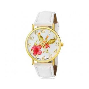 WoMaGe 1089-7 Модная женская Аналоговый кварцевые наручные часы с цветочным узором и искусственной кожаный ремешок (белый)
