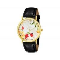 WoMaGe 1089-4 модные женская Аналоговый кварцевые наручные часы с цветочным узором и искусственной кожаный ремешок (черный)
