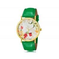 WoMaGe 1089-4 модные женская Аналоговый кварцевые наручные часы с цветочным узором и искусственной кожаный ремешок (зеленый)