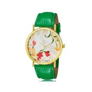 WoMaGe 1089-4 Модная женская Аналоговый кварцевые наручные часы с цветочным узором и искусственной кожаный ремешок (зеленый)