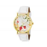 WoMaGe 1089-4 модные женская Аналоговый кварцевые наручные часы с цветочным узором и искусственной кожаный ремешок (белый)