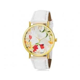 WoMaGe 1089-4 Модная женская Аналоговый кварцевые наручные часы с цветочным узором и искусственной кожаный ремешок (белый)