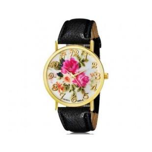 WoMaGe 1089-6 Модная женская Аналоговый кварцевые наручные часы с цветочным узором и искусственной кожаный ремешок (черный)