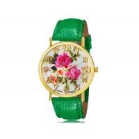 WoMaGe 1089-6 модные женская Аналоговый кварцевые наручные часы с цветочным узором и искусственной кожаный ремешок (зеленый)