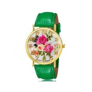 WoMaGe 1089-6 Модная женская Аналоговый кварцевые наручные часы с цветочным узором и искусственной кожаный ремешок (зеленый)