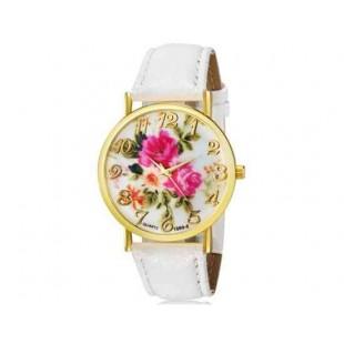 WoMaGe 1089-6 Модная женская Аналоговый кварцевые наручные часы с цветочным узором и искусственной кожаный ремешок (белый)