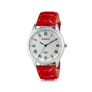WoMaGe 9595-1 Женские Аналоговые кварцевые наручные часы с римскими цифрами & Искусственная кожа Band (красный)