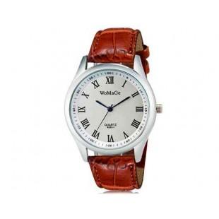 WoMaGe 9595-1 Женские Аналоговые кварцевые наручные часы с римскими цифрами & Искусственная кожа Band (Браун)