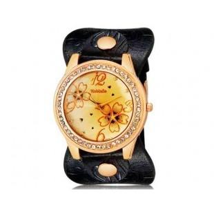 WoMaGe 9965-3 Женская модная Rhinestone Украшенные аналоговые наручные часы с уникальным Кожаный ремешок (черный)