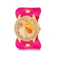 WoMaGe 9965-3 Женская модные Rhinestone Украшенные аналоговые наручные часы с уникальным Кожаный ремешок (Rose Red)