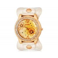 WoMaGe 9965-3 Женская модные Rhinestone Украшенные аналоговые наручные часы с уникальным Кожаный ремешок (белый)