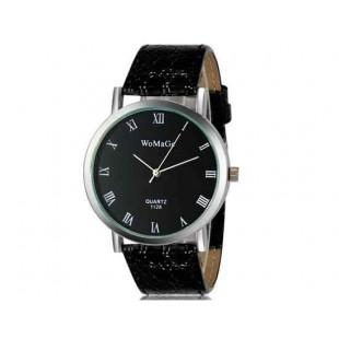 WoMaGe 1128 Модная женская Аналоговый кварцевые наручные часы с римские цифры шкалы (черный)