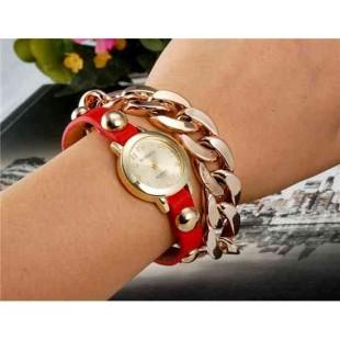 WoMaGe 1113 женщин круглый циферблат аналогового кварцевые часы браслет (красный)