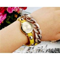 WoMaGe 1113 женщин круглый циферблат аналогового кварцевые часы браслет (желтый)