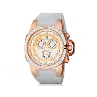 V6 Super Speed V0230 Мужская модная Аналоговый Большой набор наручные часы с силиконовой лентой (белый)