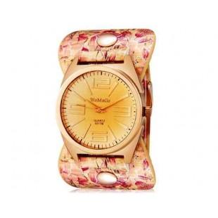 WOMAGE 9317 женщин`s крупными арабскими цифрами Дисплей Циферблат аналоговые наручные часы с Ретро-бэнд